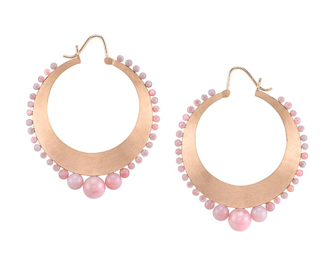 Irene Neuwirth 18K Rose Gold and Pink Opal Hoops, $4,400