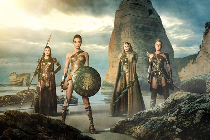 The Amazons on the all-female island Themyscira from left to right Menalippe (Lisa Loven Kongsli), Diana (Gal Gadot), Hippolyta (Connie Nielsen) and Antiope (Robin Wright). Photo Warner Brothers