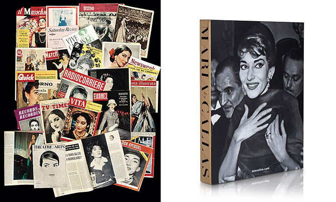 Collage from the pages of 'Maria by Callas' and the back cover of the book from Assouline. Photo © Studio Sebert and courtesy of Assouline