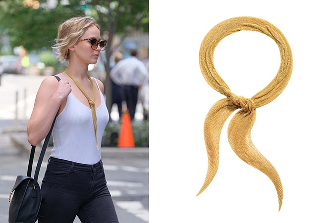 Jennifer Lawrence wearing the Elsa Peretti's large gold Mesh scarf designed for Tiffany. Photo Jesse Bauer/startraksphoto.com
