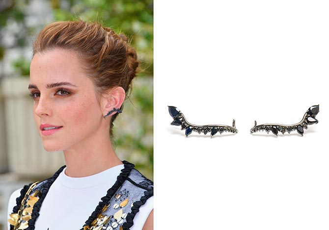 Emma Watson at a photo call for her new film 'The Circle' wearing black diamond Fusion earrings by Fernando Jorge. Photo Getty and courtesy