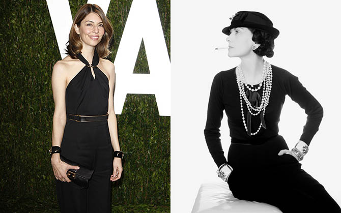 Sofia Coppola wearing her favorite Verdura cuffs in 2012. Coco Chanel wearing her Maltese Cross cuffs by Verdura in a Man Ray image taken in 1935. Photo Phil Stafford/Shutterstock.com and © 2016 Man Ray Trust / Artists Rights Society (ARS), New York / ADAGP, Paris
