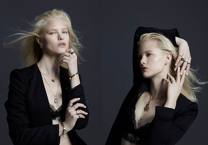 A model posing in jewels from the Foundrae collection Photo courtesy of Moda Operandi