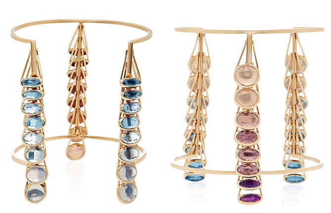 The rose gold cuff by new designer Marie Mas is set with moon quartz, rose quartz, sky blue topaz, pink amethyst, blue topaz, African and Brazillian amethyst. Photo Moda Operandi