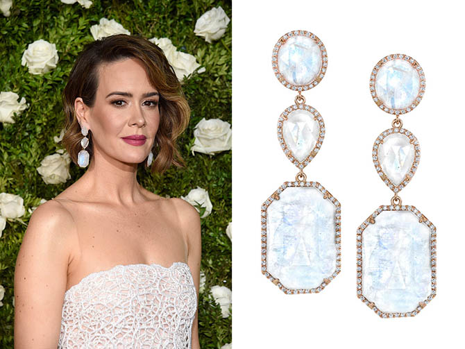 NEW YORK, NY - JUNE 11: Sarah Paulson in Irene Neuwirth earrings the 2017 Tony Awards at Radio City Music Hall on June 11, 2017 in New York City. (Photo by Kevin Mazur/Getty Images for Tony Awards Productions)