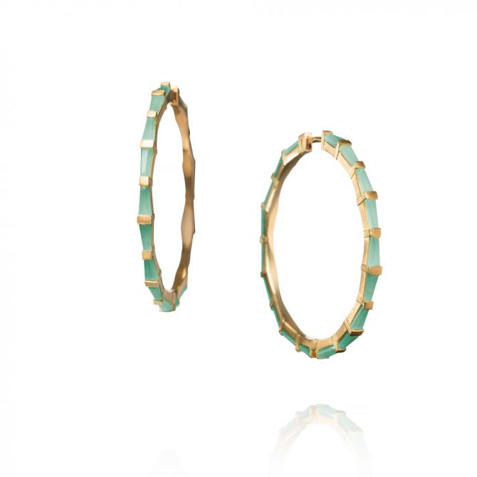 Nak Armstrong Hilvando Stitch Hoop Earrings of Blue Peruvian Opal and Gold Hoops, $4,850