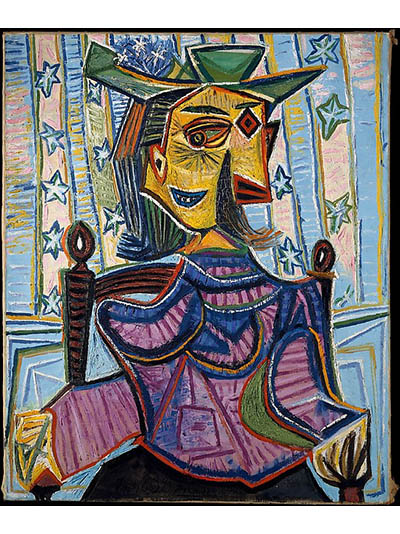 One of several paintings by Pablo Picasso of his lover Dora Mara. 'Dora in an Armchair' was painted by the artist in 1939. Photo The Mr. and Mrs. Klaus G. Perls Collection, 1998 from the Metropolitan Museum of Art