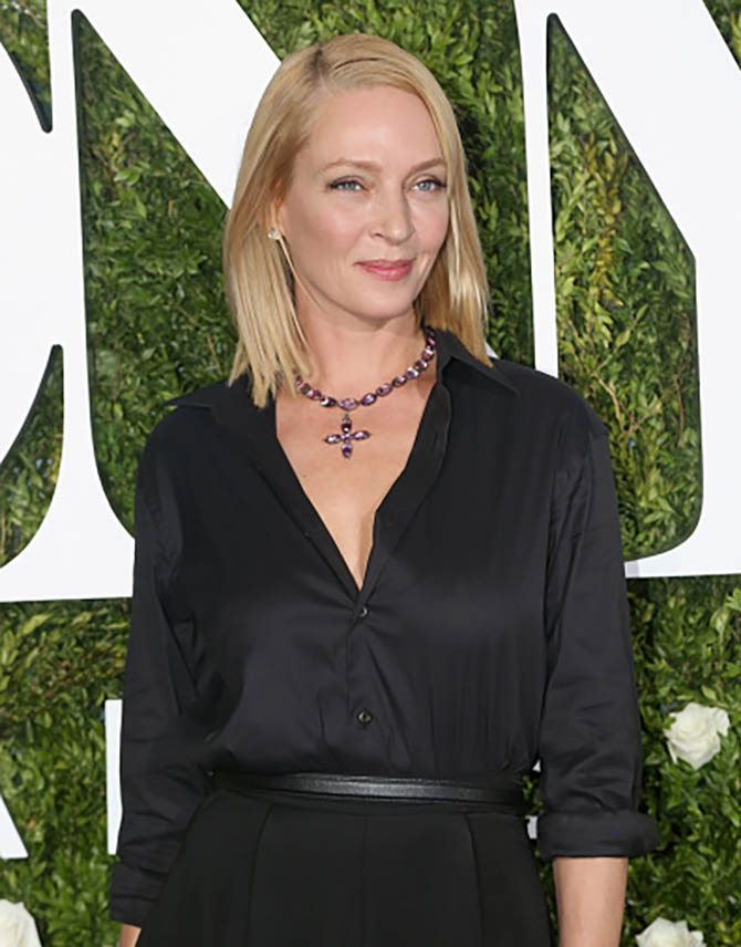 NEW YORK, NY - JUNE 11: Actress Uma Thurman in a 19th century amethyst necklace at the 71st Annual Tony Awards at Radio City Music Hall on June 11, 2017 in New York City. (Photo by Bruce Glikas/FilmMagic)