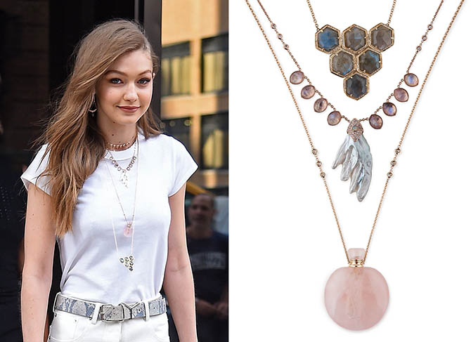 Gigi Hadid in New York wearing nine pieces from Jacquie Aiche jewelry. Three of the necklaces she has on are at right. Photo Jacquie Aiche