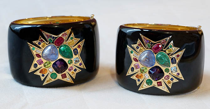 The limited edition Theodora Maltese Cross Cuffs by Verdura Photo by Sally Davies