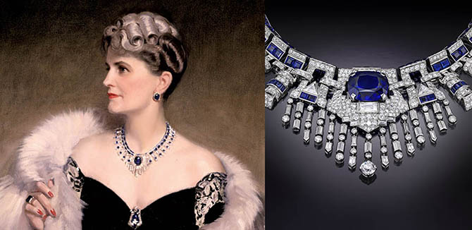 Portrait of Marjorie Post painted by Frank O. Salisbury in 1946 during the period she was married to Joseph E. Davies. Detail of a jewel in the portrait, a sapphire, diamond and platinum fringe necklace commissioned from Cartier in 1937. Photo courtesy of the Hillwood Estate, Museum & Gardens.