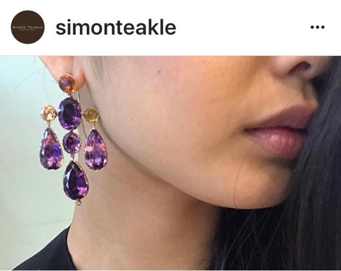 Antique Girandole amethyst and topaz earrings from Simon Teakle Photo @simonteakle/Instagram