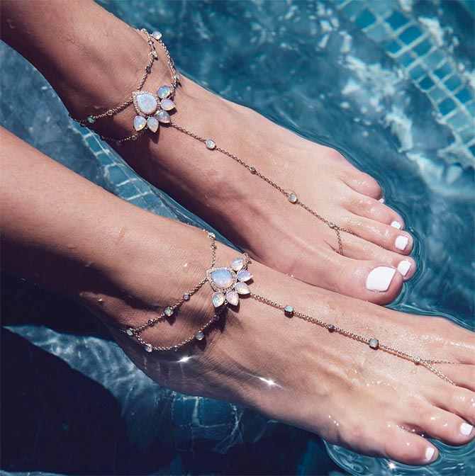 Opal, diamond and gold anklets by Jacquie Aiche Photo @jacquieaiche/Instagram
