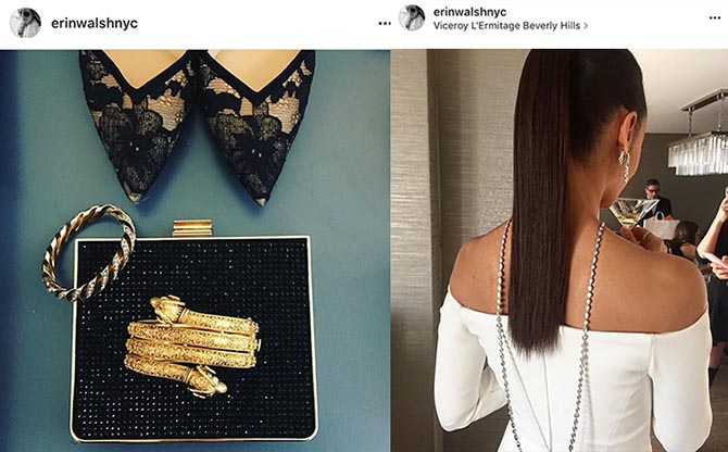 From @erinwalshnyc Instagram, Maggie Gyllenhaal's Neil Lane jewels at the Golden Globes and Thandie Newtons back of trailing Harry Winston jewels Photo @erinwalshnyc/Instagram