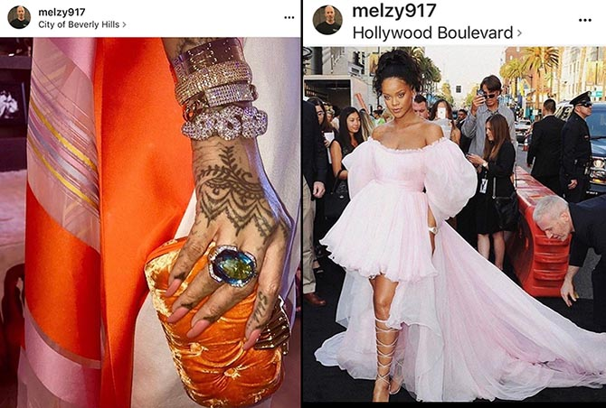 From @melzy917 Instagram, a close up of Rihanna's sparkling David Webb and Jill Heller jewels and the stylist fixing the star's dress at the 'Valerian' premiere. Photo @melzy917/Instagram