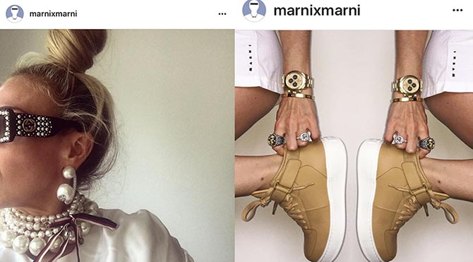 From the Instagram of @marnixmarni , the stylist sporting Gucci earrings and the in Celine sneakers and her own jewelry.