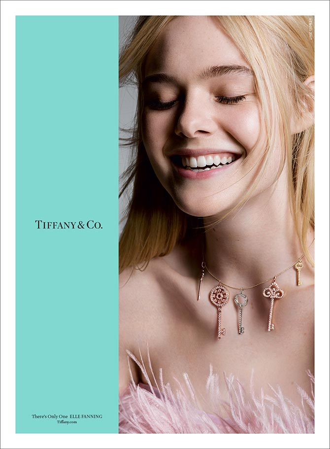 "Elle Fanning wering Key Pendants in Tiffany's ""There's Only One"" ad campaign Photo by Inez & Vinoodh"