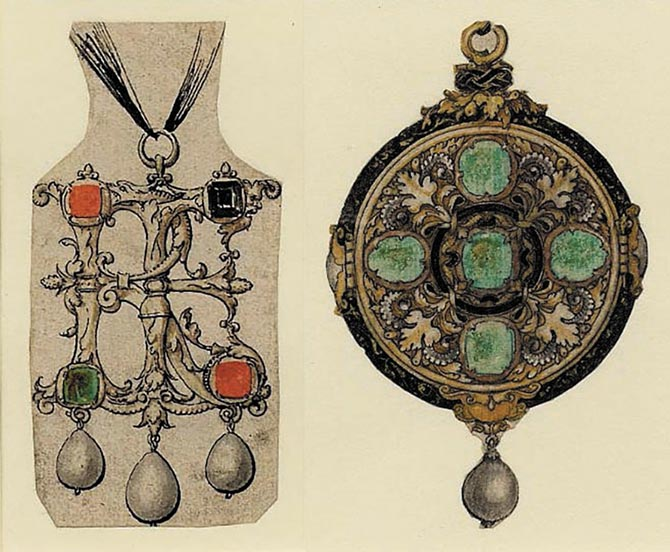 (Left) A sketch of a circular pendant set with sapphires and pearls and decorated with foliate motifs. (Right) The pendant in this drawing is set rubies and pearls and with black stones which are presumed to signify sapphires