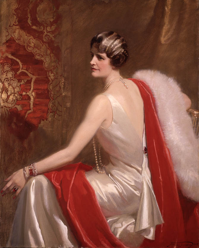 A portrait of Marjorie Post painted by Frank O. Salisbury in 1934 during the period when she was married to E. F. Hutton. She is wearing two ruby and diamond bracelets by Cartier as well as other assorted jewels. Photo courtesy of the Hillwood Estate, Museum & Gardens.