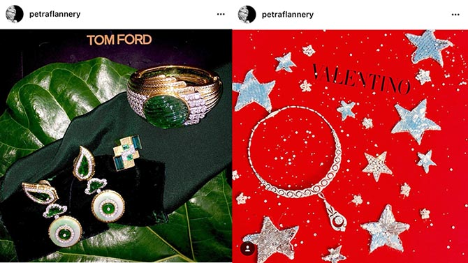 From @petraflannery's Instagram: Details of Amy Adams chic David Webb Jade jewels from the BAFTAs and Emma Stone's Tiffany necklace from her winning look at the Golden Globes on top of a Valentino box for her dress. Photo @PetraFlannery/Instagram