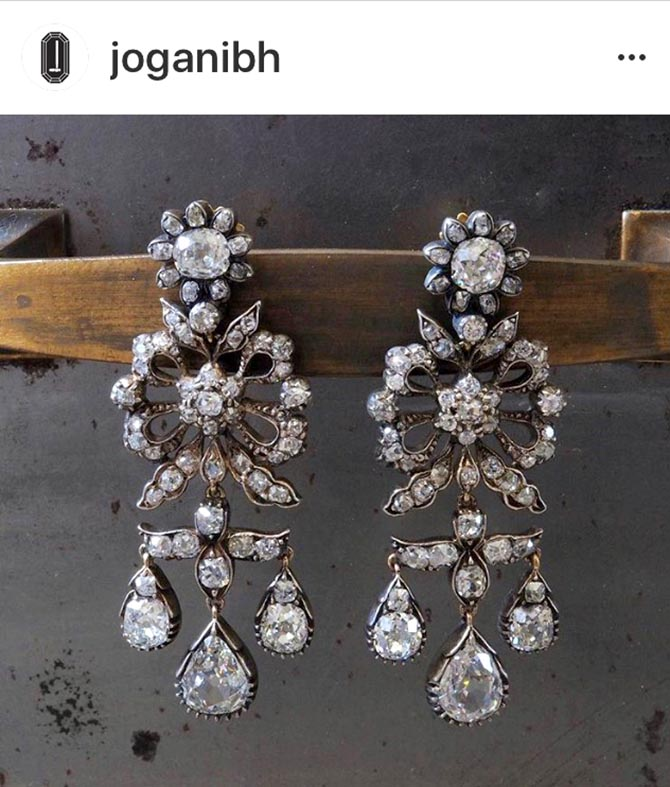 Victorian diamond earrings from dealer Jogani Beverly Hills. Photo @joganibh/Instagram