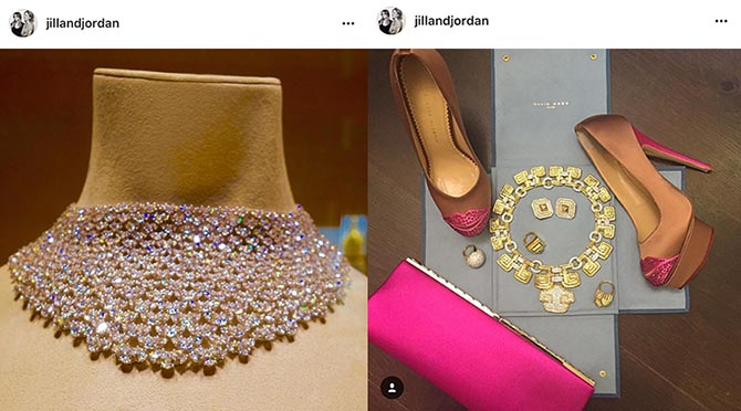From @jillandjordan Instagram: : A throwback to Jennifer Lawrence 2015 Golden Globes Chopard diamond collar and a sneak peak at Sofa Vergara's SAG Awards look with David Webb jewels. Photo @jillanandjordan/Instagram
