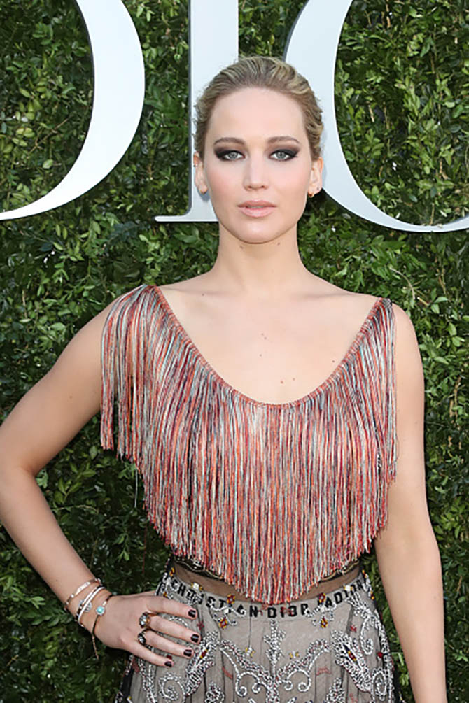 Jennifer Lawrence in Dior Fashion jewerly at the 'Christian Dior, couturier du reve' Exhibition Launch celebrating 70 years of creation at Musee Des Arts Decoratifs on July 3, 2017 in Paris, France. (Photo by Antonio de Moraes Barros Filho/WireImage)