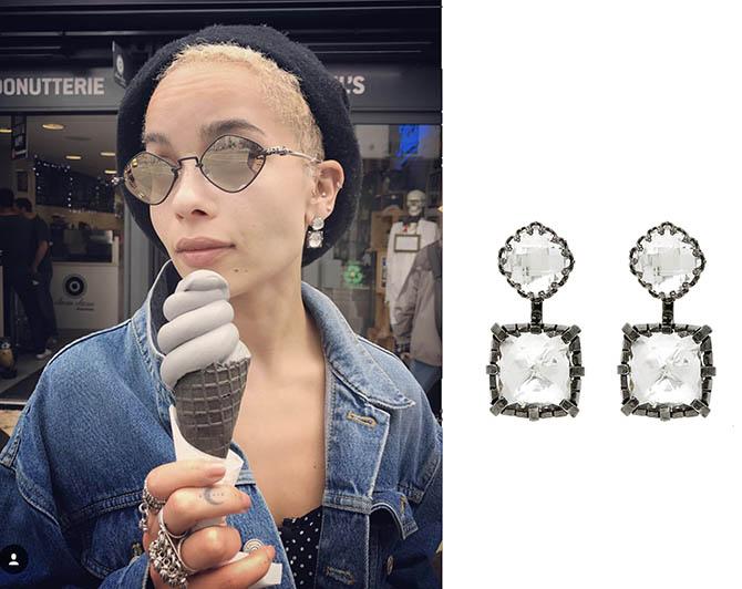 Zoe Kravitz wearing her Larkspur & Hawk earrings in London. Photo @karlglusman/Instagram and courtesy of Larkspur & Hawk