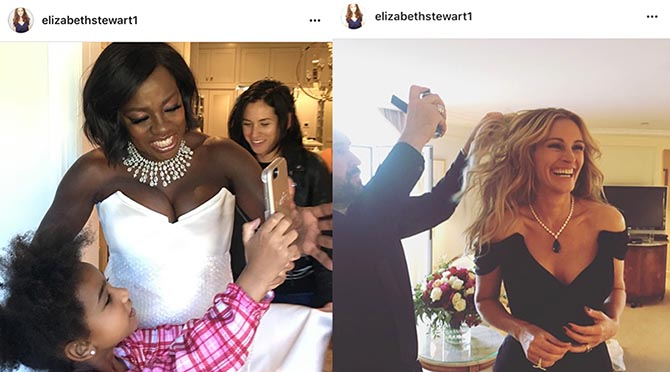 From @elizabethsaltzman Instagram, Viola Davis in Nirav Modi taking selfies before the SAG Awards and Julia Roberts in a Chopard necklace prepping for the red carpet at Cannes Photo @elizabethsaltzman/Instagram