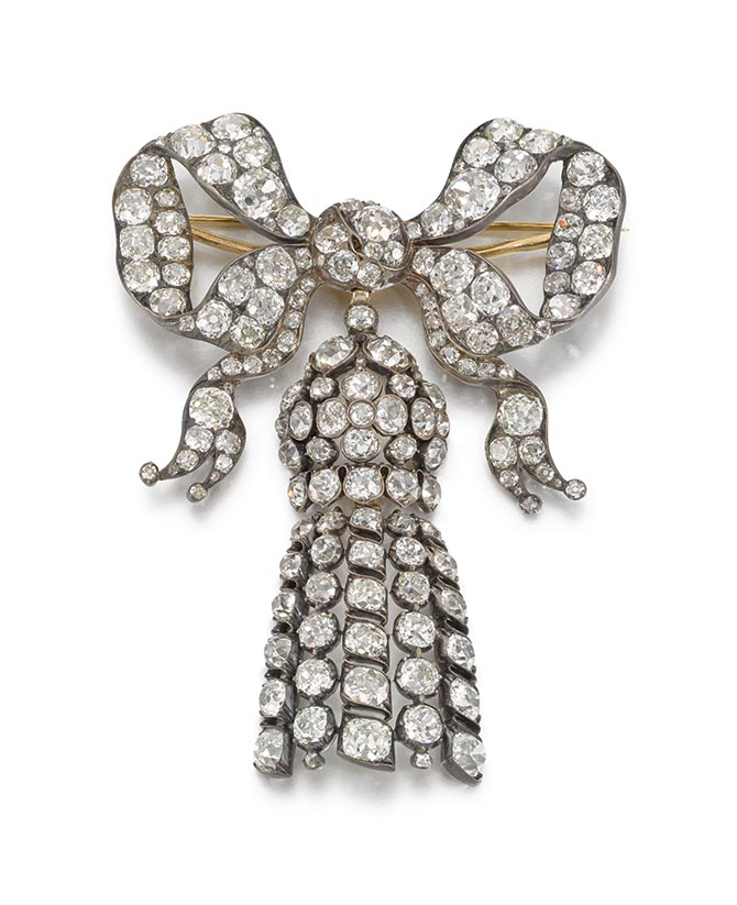 670 Diamond bow brooch pendant-1