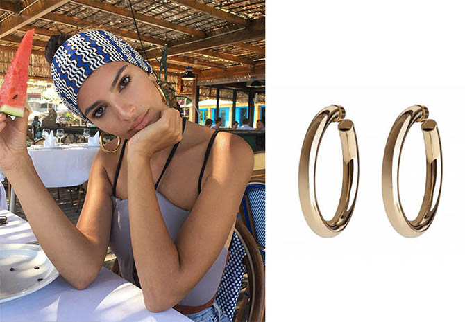 Emily Ratajkowski wearing hoops by Jennifer Fisher