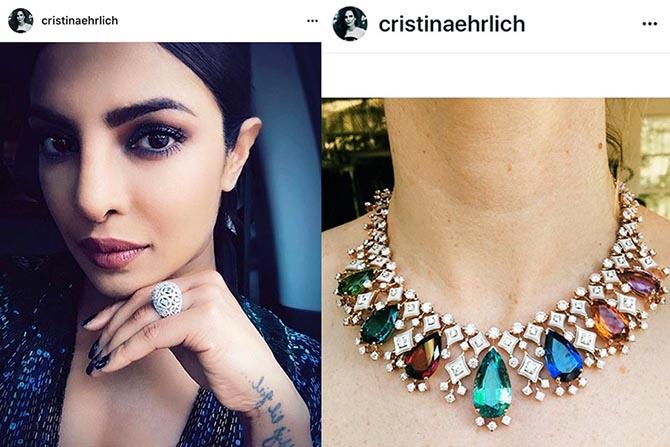 From @cristinaehrlich, Priyanka Chopra in Nirav Modi Jewels at the 'Baywatch' premiere and a High Jewelry necklace from Bulgari Photo @cristinaehrlich/Instagram