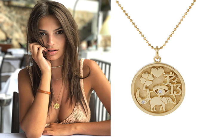 Emily Ratajkowski wearing her Jennifer Meyer Good Luck Charm Necklace and Jacquie Aiche diamond necklace and body chain