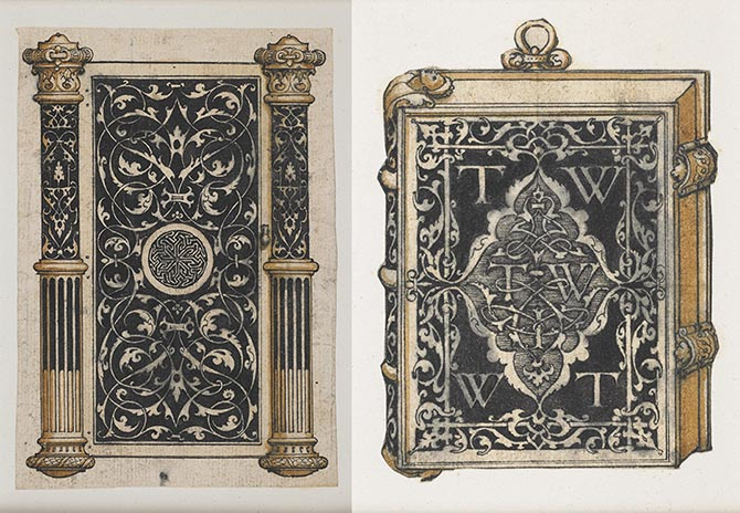 (Left) A design for a metal jewelry casket, thought to have been executed for the family for Sir Thomas Wyatt, the renowned English ambassador and poet who was a close friend of King Henry VIII. (Right) A design for a metalwork book cover decorated with the initials TIW, TW, and WT, also thought to have been made for the family of Sir Thomas Wyatt. Photo British Museum