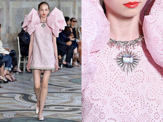 A millennial pink mini dress with exaggerated shoulders by Giambattista Valli and a bejeweled neckline was highlighted with a 1950s aquamarine, diamond and platinum starburst brooch from Eleuteri. Photo Getty
