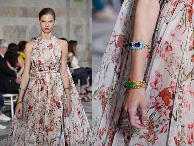 Three of the vintage bracelets from Eleuteri paired with an ethereal printed Giambattista Valli gown include a carved jade and gold David Webb design and a colorful French piece set with turquoise and amethysts. Photo Getty