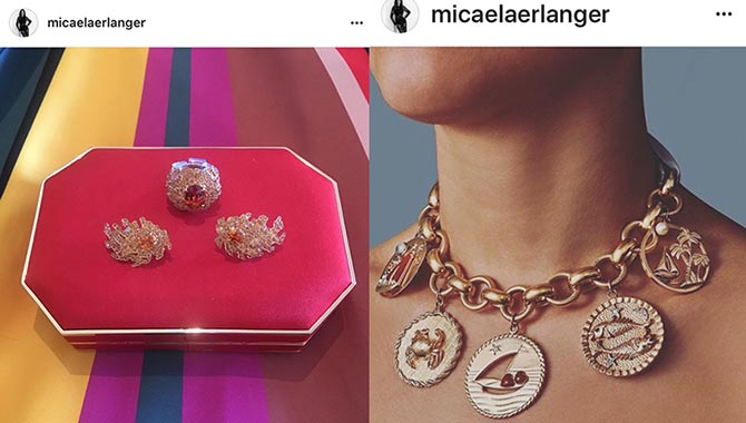From @micaelaerlanger Instagram, close up of Michelle Dockery's Niwaka Fine Jewelry at the SAG Awards and charm bracelet choker from Fred Leighton Photo @micaelaerlanger/Instagram