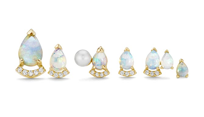 Opal, diamond and pearl studs from Paige Novick's Powerful Pretty Things collection. Photo courtesy