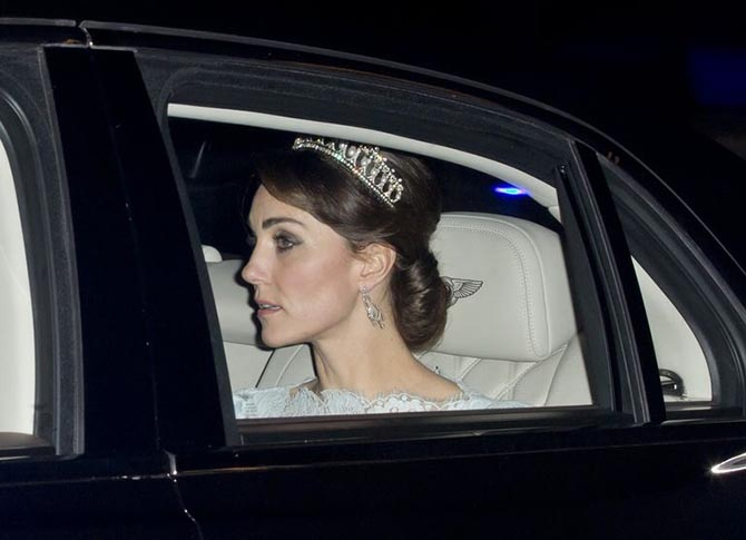 Kate Middleton wearing the Cambridge Lover's Knot Tiara to a reception in December, 2016.