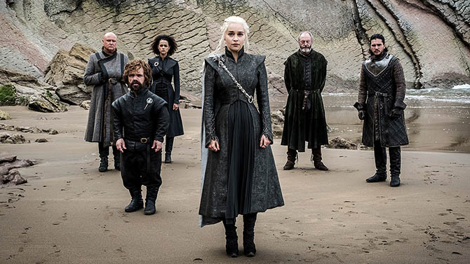 A still from 'Game of Thrones' Season 7 with members of the cast surrounding Emila Clarke's Daenerys Targaryen who is wearing the Mother of Dragons chain. Photo HBO