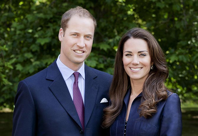 The Duke and Duchess of Cambridge's official portrait for their 2011 North American tour. Kate is wearing the altered rendition of Diana's sapphire and diamond earrings. Photo by Chris Jackson/Getty Images for St James's Palace