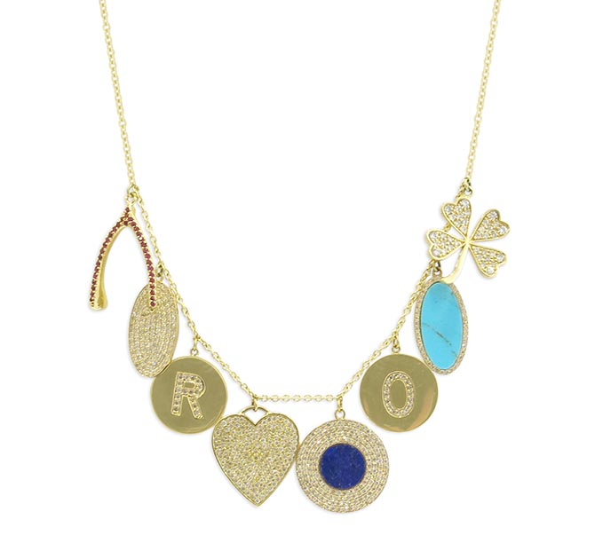 Necklace with diamond, ruby, lapis and turquoise charms by Jennifer Meyer Photo courtesy
