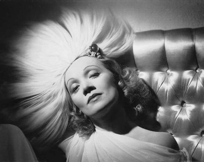 circa 1937: German-born actress Marlene Dietrich (1901 - 1992) wearing a jewelled headdress designed by Travis Banton for the film 'Angel', directed by Ernst Lubitsch. (Photo by George Hurrell/John Kobal Foundation/Getty Images)