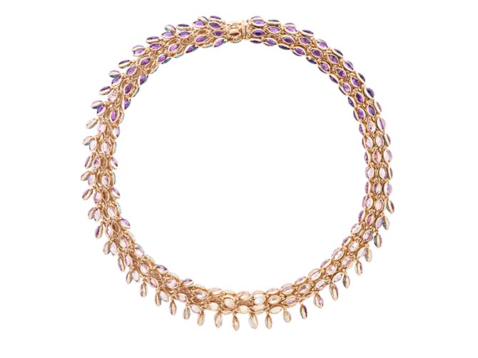 The Swinging Choker by Marie Mas is set with 486 semiprecious stones. There are two different gems on each module. Photo courtesy