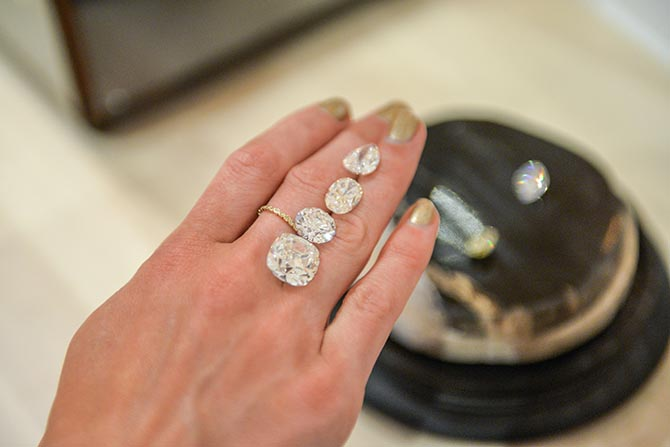 Diamonds from Forevermark's Exceptional collection, some of the most exquisite and rare diamonds in the world, on view at the Master Class. Photo by Andrew Werner