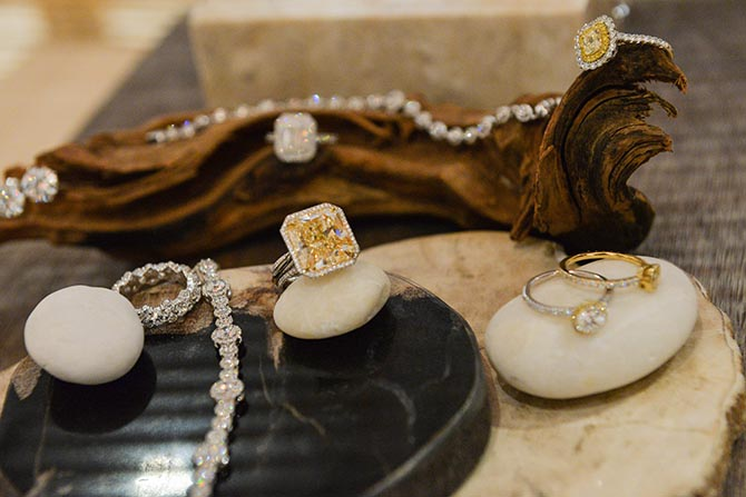 An array of jewelry set with Forevermark diamonds on display at the Master Class. Photo by Andrew Werner.