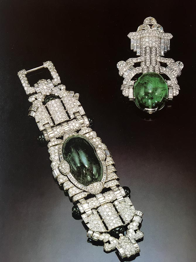 Marlene Dietrich's emerald and diamond bracelet and brooch by Trabert & Hoeffer-Maubuoussin as seen in the book 'Hollywood Jewels: Movies, Jewelry, Stars by Penny Proddow and Marion Fasel. Photo Sotheby's