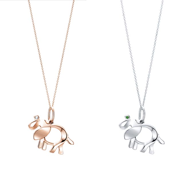 Tiffany Save the Wild Elephant Charms in rose gold and diamond and silver and tsavorite. Photo courtesy of Tiffany & Co.
