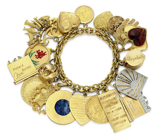 Elizabeth Taylor's charm bracelet has an array of personal charms collected over many years. Photo Christie's