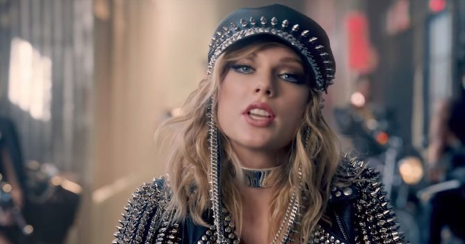 "Taylor Swift in Biker Scene of ""Look What You Made Me Do"" wearing a The Choker in High Polish by Jenny Bird"